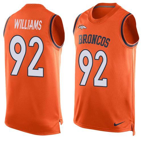 ID100204 Men\'s Denver Broncos #92 Sylvester Williams Orange Hot Pressing Player Name & Number Nike NFL Tank Top Jersey