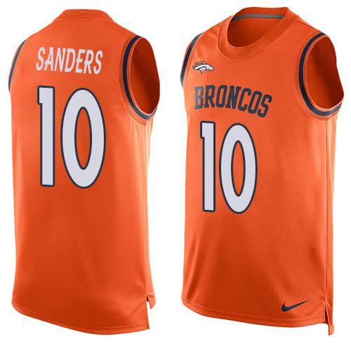 ID100207 Men\'s Denver Broncos #10 Emmanuel Sanders Orange Hot Pressing Player Name & Number Nike NFL Tank Top Jersey