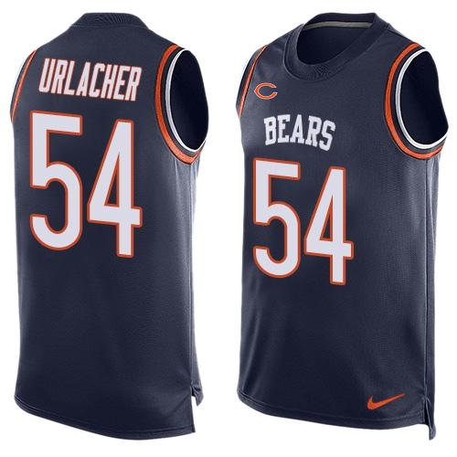 9958c9192a3 Men's Chicago Bears #54 Brian Urlacher Navy Blue Hot Pressing Player Name &  Number Nike
