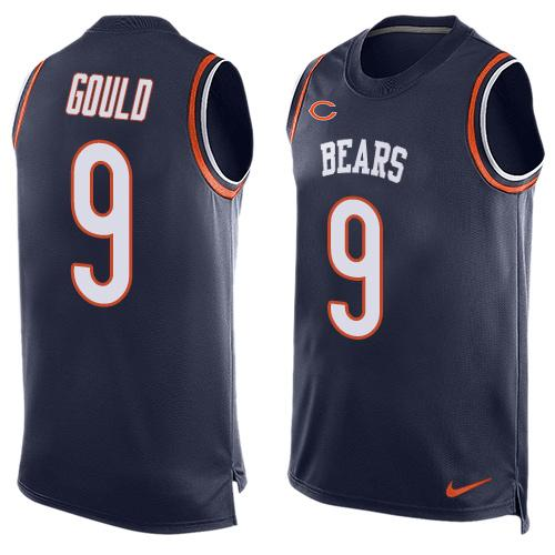 ID100169 Men\'s Chicago Bears #9 Robbie Gould Navy Blue Hot Pressing Player Name & Number Nike NFL Tank Top Jersey