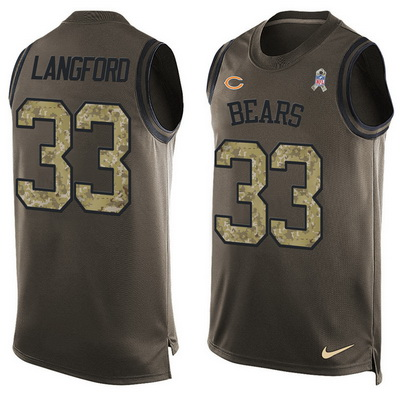 ID100139 Men\'s Chicago Bears #33 Jeremy Langford Green Salute to Service Hot Pressing Player Name & Number Nike NFL Tank Top Jersey