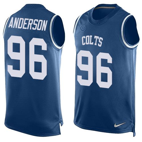 ID100088 Men\'s Indianapolis Colts #96 Henry Anderson Royal Blue Hot Pressing Player Name & Number Nike NFL Tank Top Jersey
