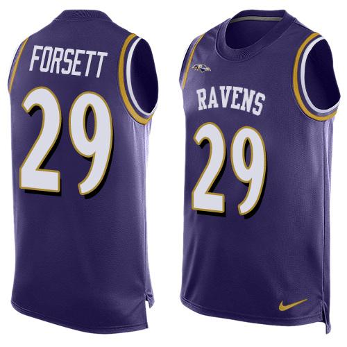 ID100050 Men\'s Baltimore Ravens #29 Justin Forsett Purple Hot Pressing Player Name & Number Nike NFL Tank Top Jersey