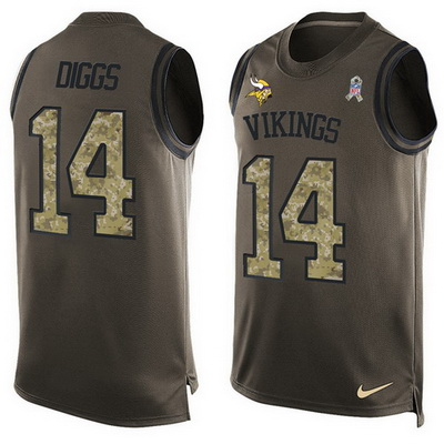 ID99998 Men\'s Minnesota Vikings #14 Stefon Diggs Green Salute to Service Hot Pressing Player Name & Number Nike NFL Tank Top Jersey