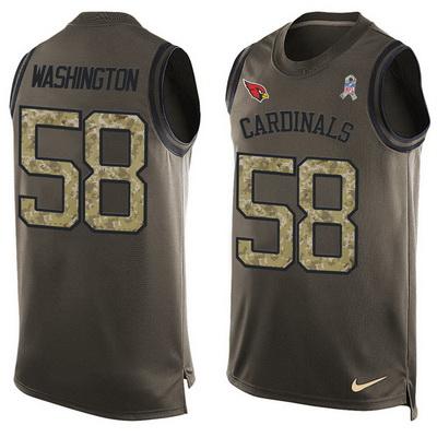 ID99888 Men\'s Arizona Cardinals #58 Daryl Washington Green Salute to Service Hot Pressing Player Name & Number Nike NFL Tank Top Jersey