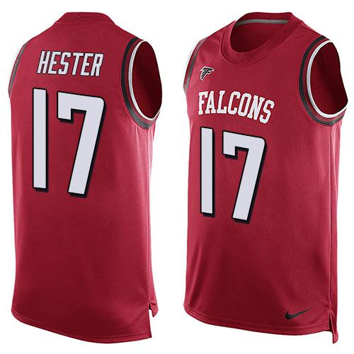 ID99880 Men\'s Atlanta Falcons #17 Devin Hester Red Hot Pressing Player Name & Number Nike NFL Tank Top Jersey