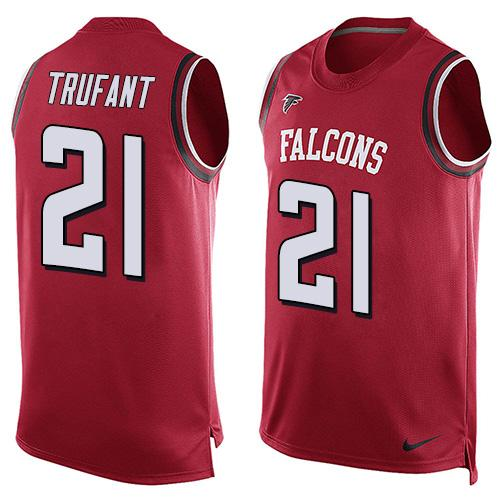 ID99871 Men\'s Atlanta Falcons #21 Desmond Trufant Red Hot Pressing Player Name & Number Nike NFL Tank Top Jersey