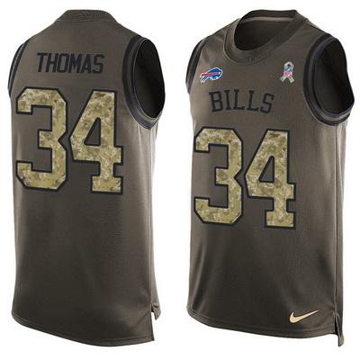 ID99811 Men\'s Buffalo Bills #34 Thurman Thomas Green Salute to Service Hot Pressing Player Name & Number Nike NFL Tank Top Jersey