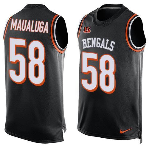 bd051366 Men's Cincinnati Bengals #58 Rey Maualuga Black Hot Pressing Player Name &  Number Nike NFL