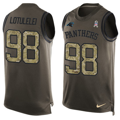 Men s Carolina Panthers  98 Star Lotulelei Green Salute to Service Hot  Pressing Player Name   5ea7fd5ab