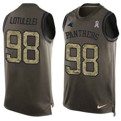 Men s Carolina Panthers  98 Star Lotulelei Green Salute to Service Hot  Pressing Player Name   5ea7fd5ab