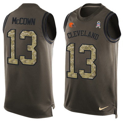 c33a5e515 Men s Cleveland Browns  13 Josh McCown Green Salute to Service Hot Pressing  Player Name