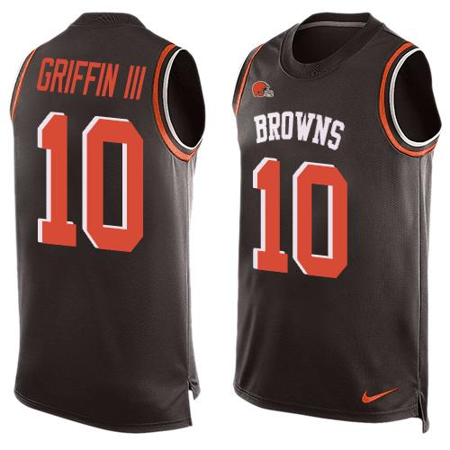 60e8fec9d Men s Cleveland Browns  10 Robert Griffin III Brown Hot Pressing Player  Name   Number Nike