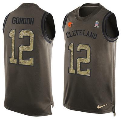 b1272e10d19 Men s Cleveland Browns  12 Josh Gordon Green Salute to Service Hot ...