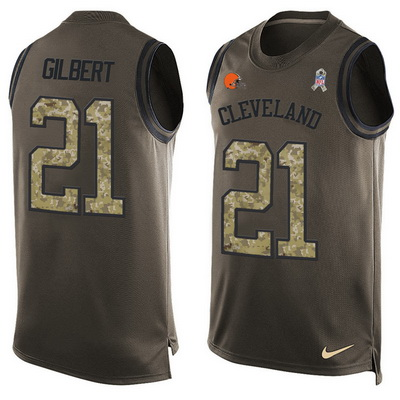 ID99679 Men\'s Cleveland Browns #21 Justin Gilbert Green Salute to Service Hot Pressing Player Name & Number Nike NFL Tank Top Jersey