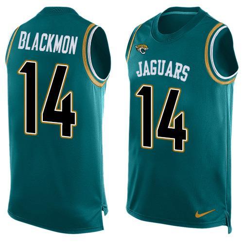 2209d764e Men s Jacksonville Jaguars  14 Justin Blackmon Teal Green Hot Pressing  Player Name   Number Nike