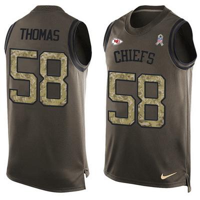 b5a58838 Men's Kansas City Chiefs #58 Derrick Thomas Green Salute to Service Hot  Pressing Player Name & Number Nike NFL Tank Top Jersey