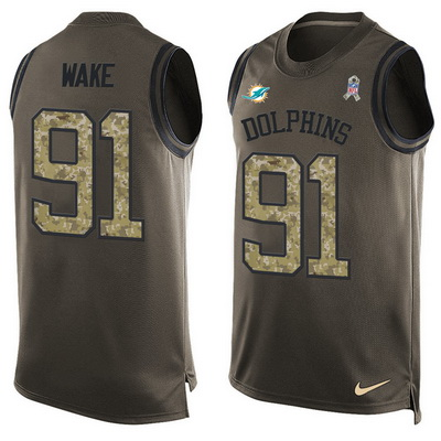 ID99435 Men\'s Miami Dolphins #91 Cameron Wake Green Salute to Service Hot Pressing Player Name & Number Nike NFL Tank Top Jersey