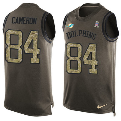 ID99426 Men\'s Miami Dolphins #84 Jordan Cameron Green Salute to Service Hot Pressing Player Name & Number Nike NFL Tank Top Jersey
