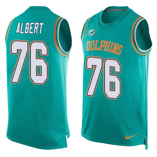 Men s Miami Dolphins  76 Branden Albert Aqua Green Hot Pressing Player Name    Number Nike 767b135d5