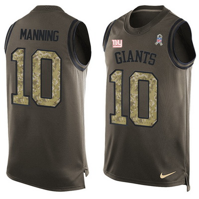 ID99290 Men\'s New York Giants #10 Eli Manning Green Salute to Service Hot Pressing Player Name & Number Nike NFL Tank Top Jersey