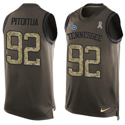 Men s Tennessee Titans  92 Ropati Pitoitua Green Salute to Service Hot  Pressing Player Name   b019cc186