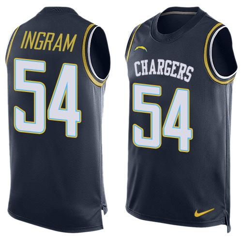 ID99120 Men\'s San Diego Chargers #54 Melvin Ingram Navy Blue Hot Pressing Player Name & Number Nike NFL Tank Top Jersey
