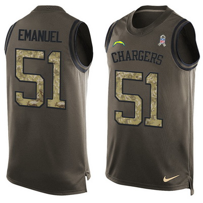 ID99107 Men\'s San Diego Chargers #51 Kyle Emanuel Green Salute to Service Hot Pressing Player Name & Number Nike NFL Tank Top Jersey