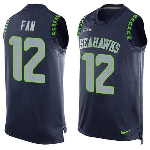 ID98996 Men\'s Seattle Seahawks #12 Fan Navy Blue Hot Pressing Player Name & Number Nike NFL Tank Top Jersey