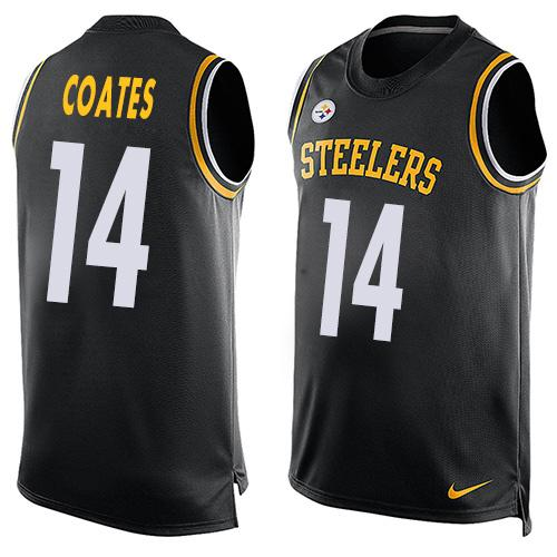 ID99083 Men\'s Pittsburgh Steelers #14 Sammie Coates Black Hot Pressing Player Name & Number Nike NFL Tank Top Jersey