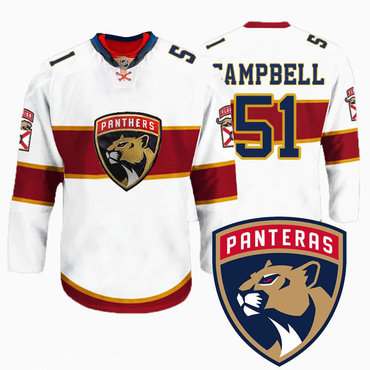 Men's Florida Panthers #51 Brian Campbell New Logo Reebok White Premier Player Jersey