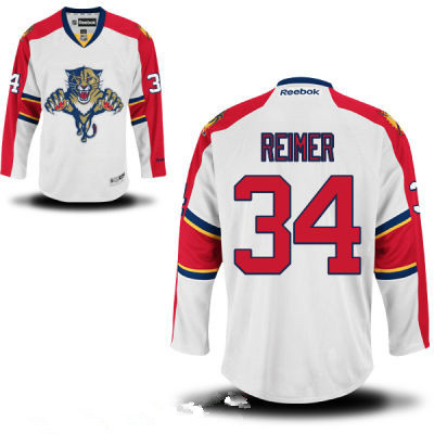 Men's Florida Panthers #34 Premier Away White Hockey Jersey