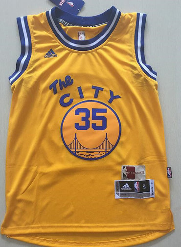 Youth Golden State Warriors #35 Kevin Durant Yellow The City Swingman Basketball Jersey