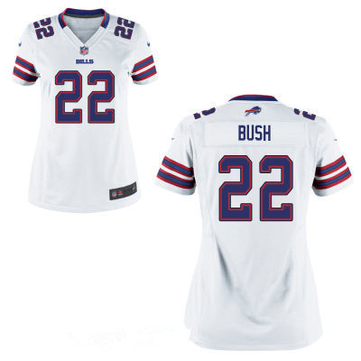 womens buffalo bills 22 reggie bush white road stitched nfl nike game jersey