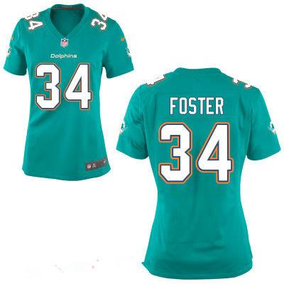 Women's Miami Dolphins #34 Arian Foster Aqua Green Team Color ...