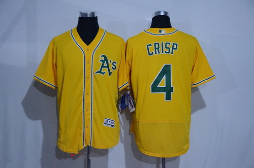 Men's Oakland Athletics #4 Coco Crisp Yellow 2016 Flex Base Majestic Stitched MLB Jersey
