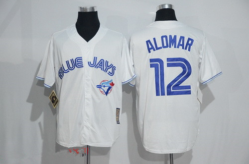 a786f8d64a1 Men s Toronto Blue Jays  12 Roberto Alomar White Majestic Cool Base  Cooperstown Collection Player Jersey