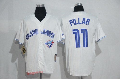 6329cc24613 Men s Toronto Blue Jays  11 Kevin Pillar White Majestic Cool Base  Cooperstown Collection Jersey