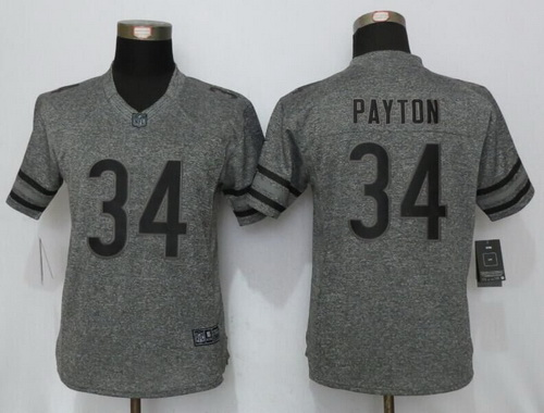 womens chicago bears 34 walter payton retired gray gridiron stitched nfl nike limited jersey
