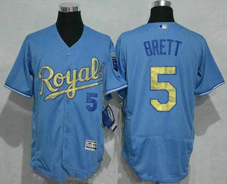 c28fdf301 Men s Kansas City Royals  5 George Brett Retired Light Blue 2015 World  Series Champions Gold