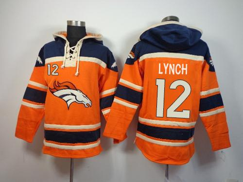 Denver Broncos #12 Paxton Lynch Orange Sawyer Hooded Sweatshirt NFL Hoodie