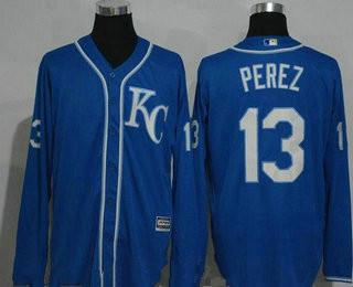 9d07dff07 Men s Kansas City Royals  13 Salvador Perez Navy Blue KC Long Sleeve  Stitched MLB Majestic