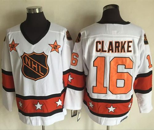 1972-81 NHL All-Star #16 Bobby Clarke White CCM Throwback Stitched Vintage Hockey Jersey