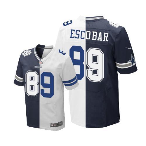 ID98756 Nike Cowboys #89 Gavin Escobar Navy Blue White Men\'s Stitched NFL Elite Split Jersey