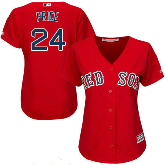 979a7dcbb92 Women s Boston Red Sox  24 David Price Red Stitched MLB Majestic Cool Base  Jersey