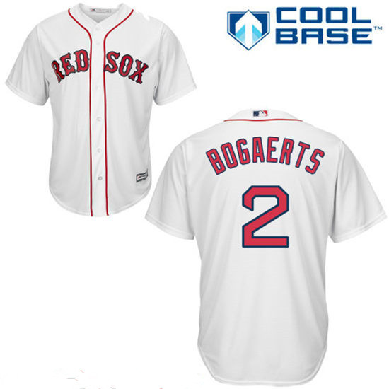 Youth Boston Red Sox #2 Xander Bogaerts White Home Stitched MLB Majestic Cool Base Jersey