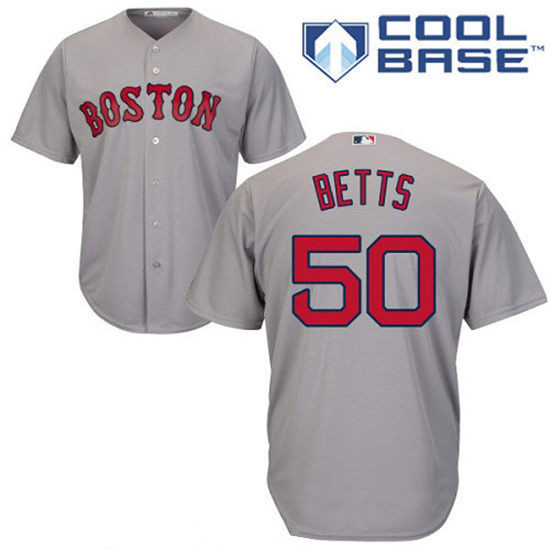 youth boston red sox 50 mookie betts gray road stitched mlb majestic cool base jersey