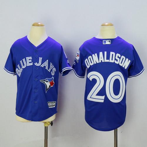 8847d1601 Youth Toronto Blue Jays  20 Josh Donaldson Blue 40th Anniversary Patch  Stitched MLB Majestic Cool