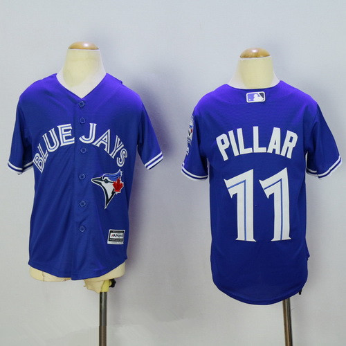 9fa24474d Youth Toronto Blue Jays  11 Kevin Pillar Blue 40th Anniversary Patch  Stitched MLB Majestic Cool Base Jersey