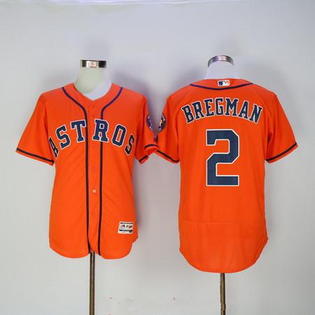d23832b8d ... Mens Houston Astros 2 Alex Bregman Orange Stitched MLB 2016 Majestic Flex  Base Jersey ...